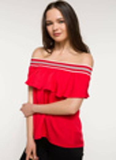 DeFacto Karmen Yaka Volan Detaylı Bluz Kırmızı